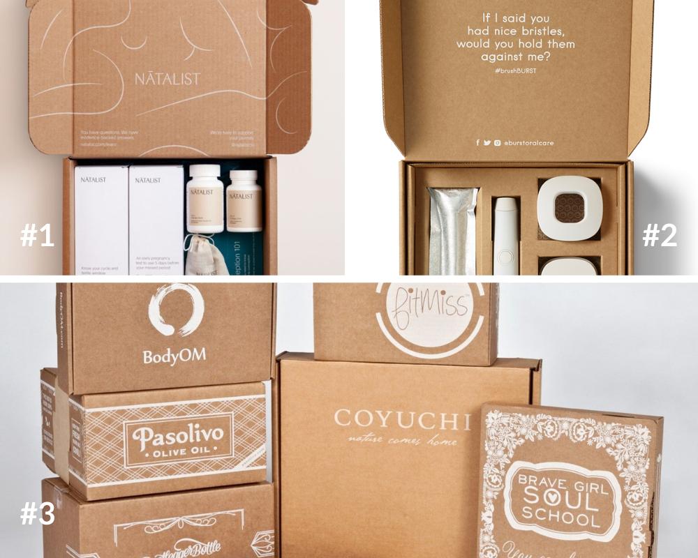 Pudełka fasonowe z białym nadrukiem