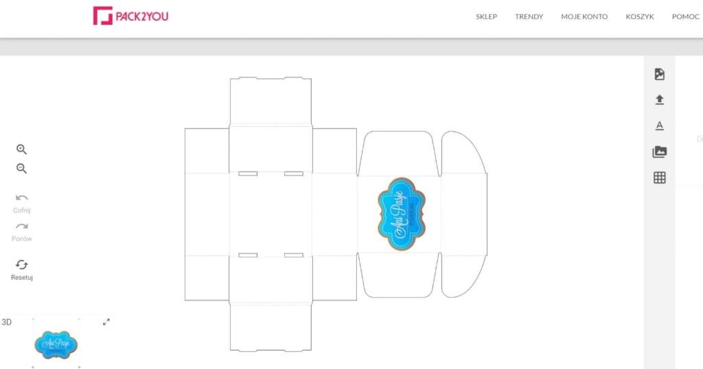 Siatka pudełka z logo służy do projektowania nadruku