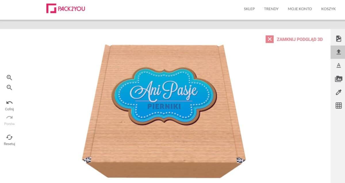 pudełko kartonowe z nadruiem na podglądzie 3D